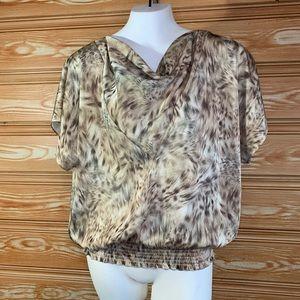 Michael Kors Animal Fur Print Cinched Waist Top M